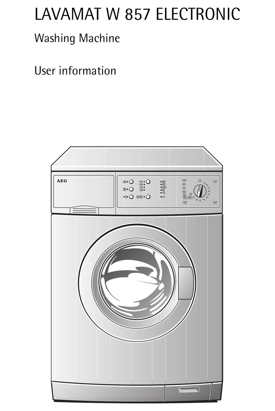 Aeg Lavamat W 857 User Information Pdf Download Manualslib