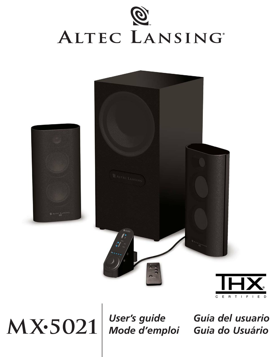 Altec Lansing Thx Mx5021 User Manual Pdf Download Manualslib