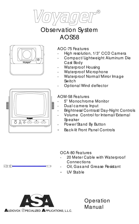 ASA ELECTRONICS AOC-75 OPERATION MANUAL Pdf Download | ManualsLib | Voyager Backup Camera Wiring Diagram |  | ManualsLib