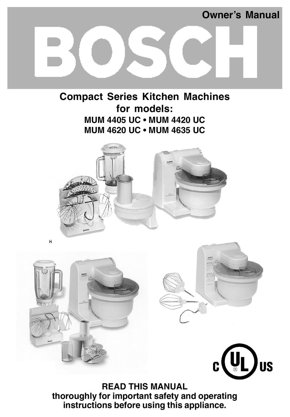 Bosch Mum 4420 Uc Owner S Manual Pdf Download Manualslib