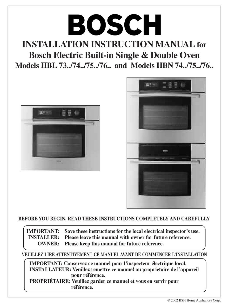 Bosch Hbn 74 Installation Instructions Manual Pdf Download Manualslib