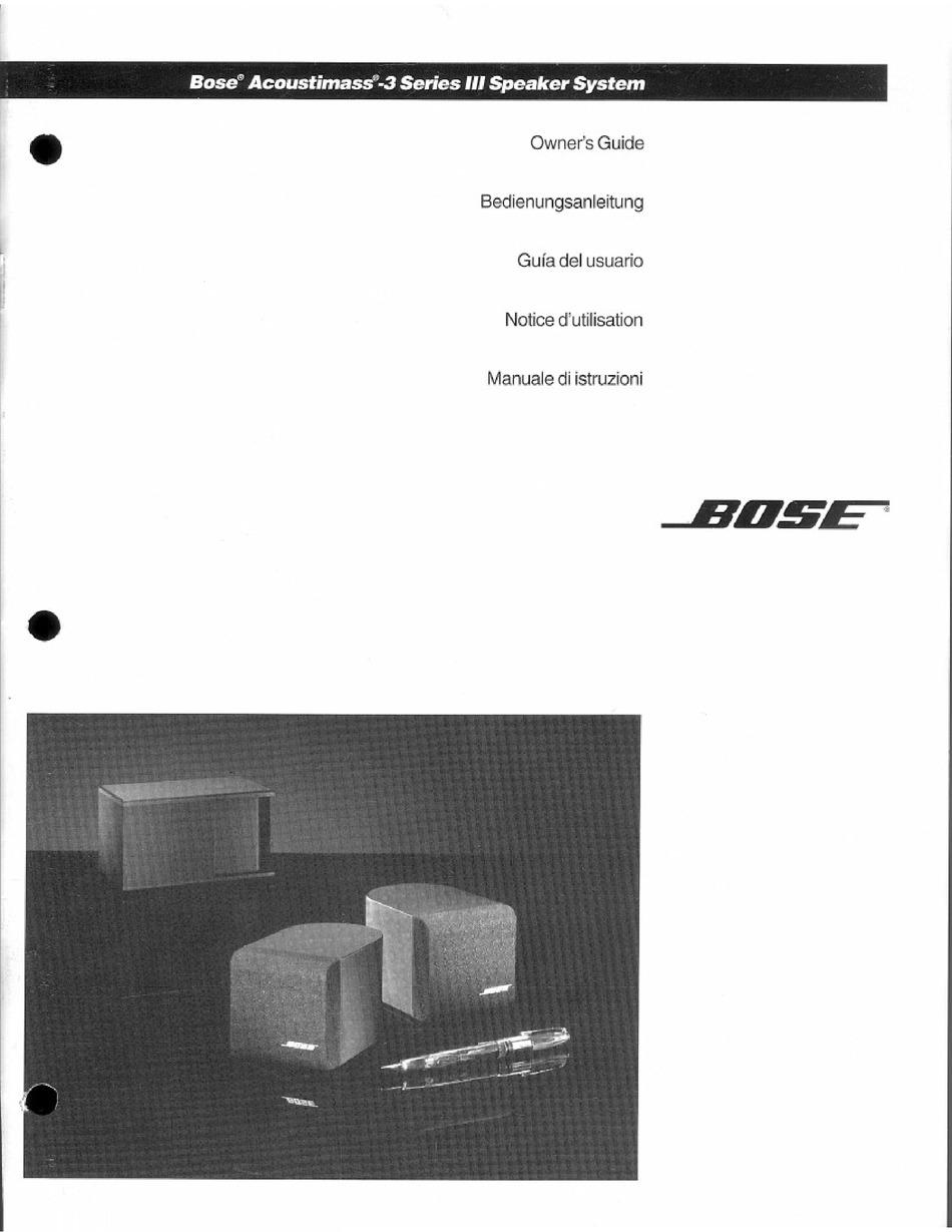 Bose Acoustimass 3 Series Iii Owner S Manual Pdf Download Manualslib