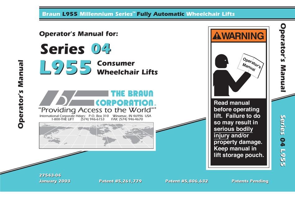 Braun L955 Operator S Manual Pdf, Braun Wheelchair Lift Wiring Diagram