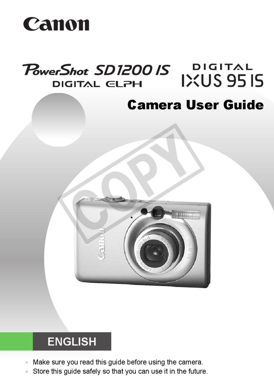 Canon Sd1200 Is User Manual Pdf Download Manualslib