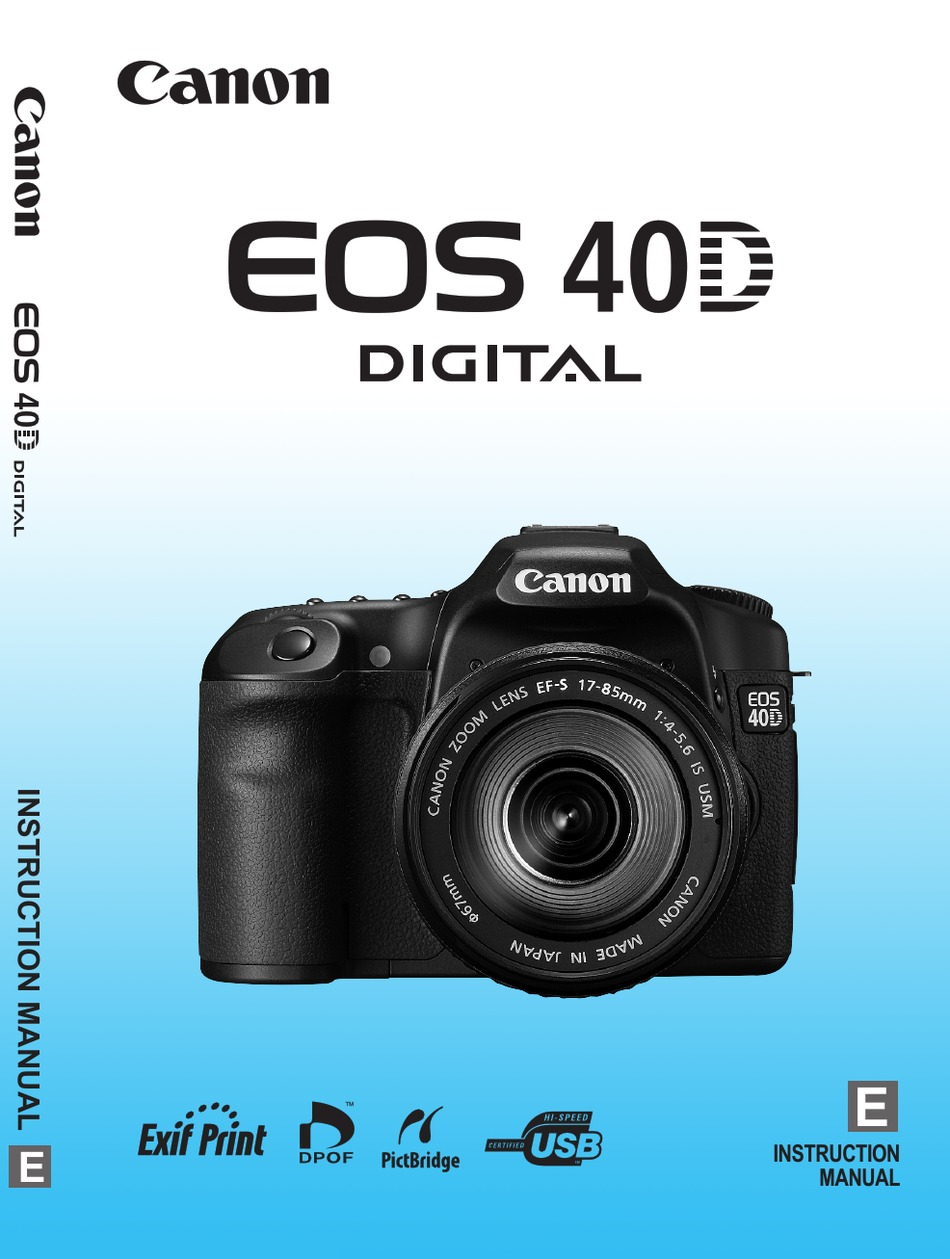 Canon Eos 40d Instruction Manual Pdf Download Manualslib