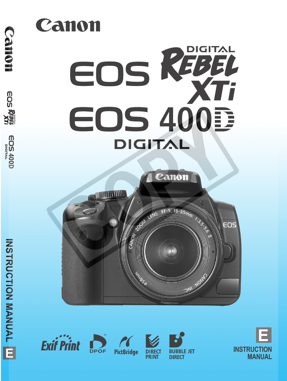 Canon Eos 400d Digital Instruction Manual Pdf Download Manualslib