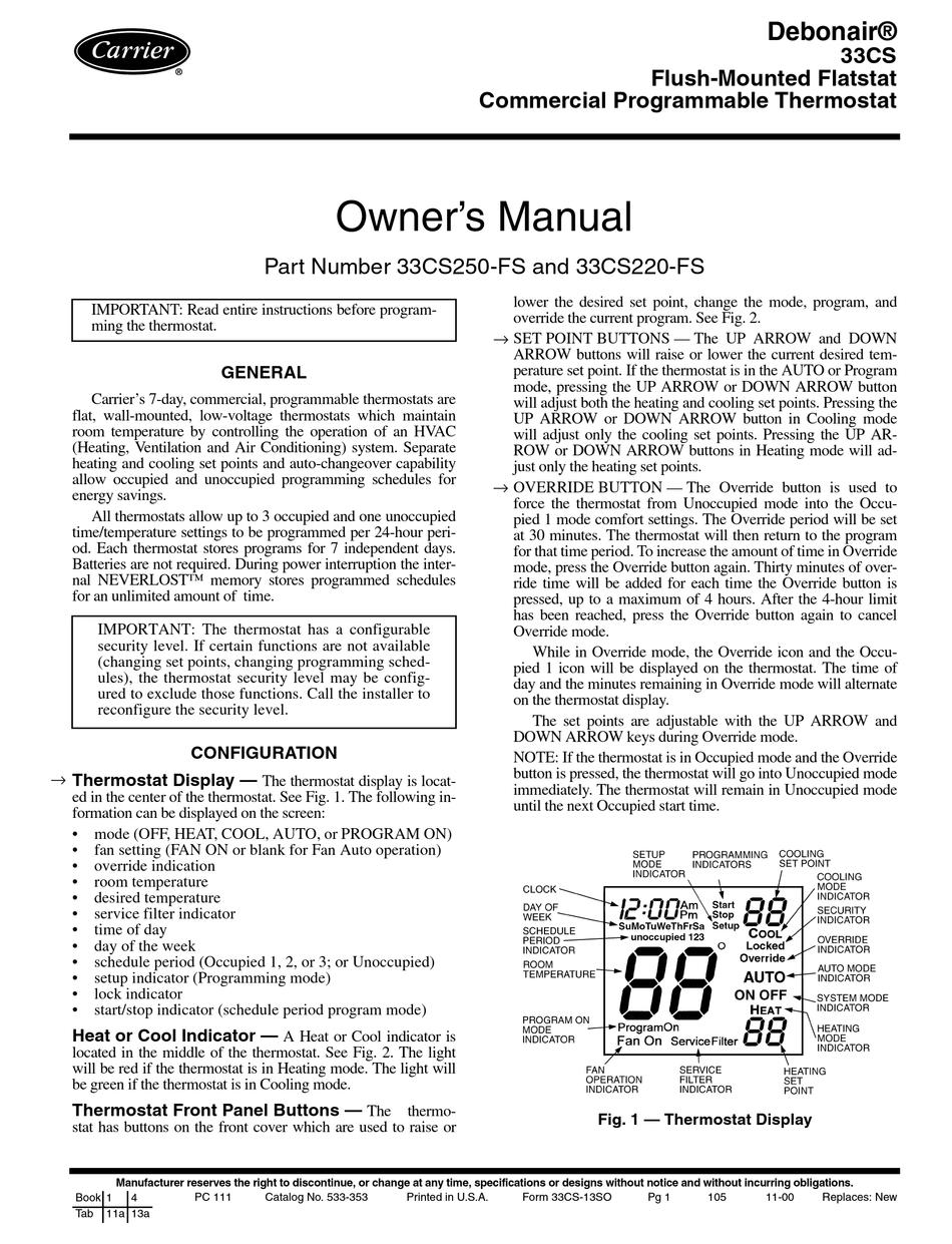 Carrier Debonair 33cs220 Fs Owner S Manual Pdf Download Manualslib