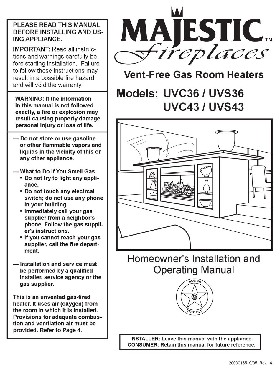 Majestic Fireplaces Uvc36 Homeowner S Installation And Operating Manual Pdf Download Manualslib