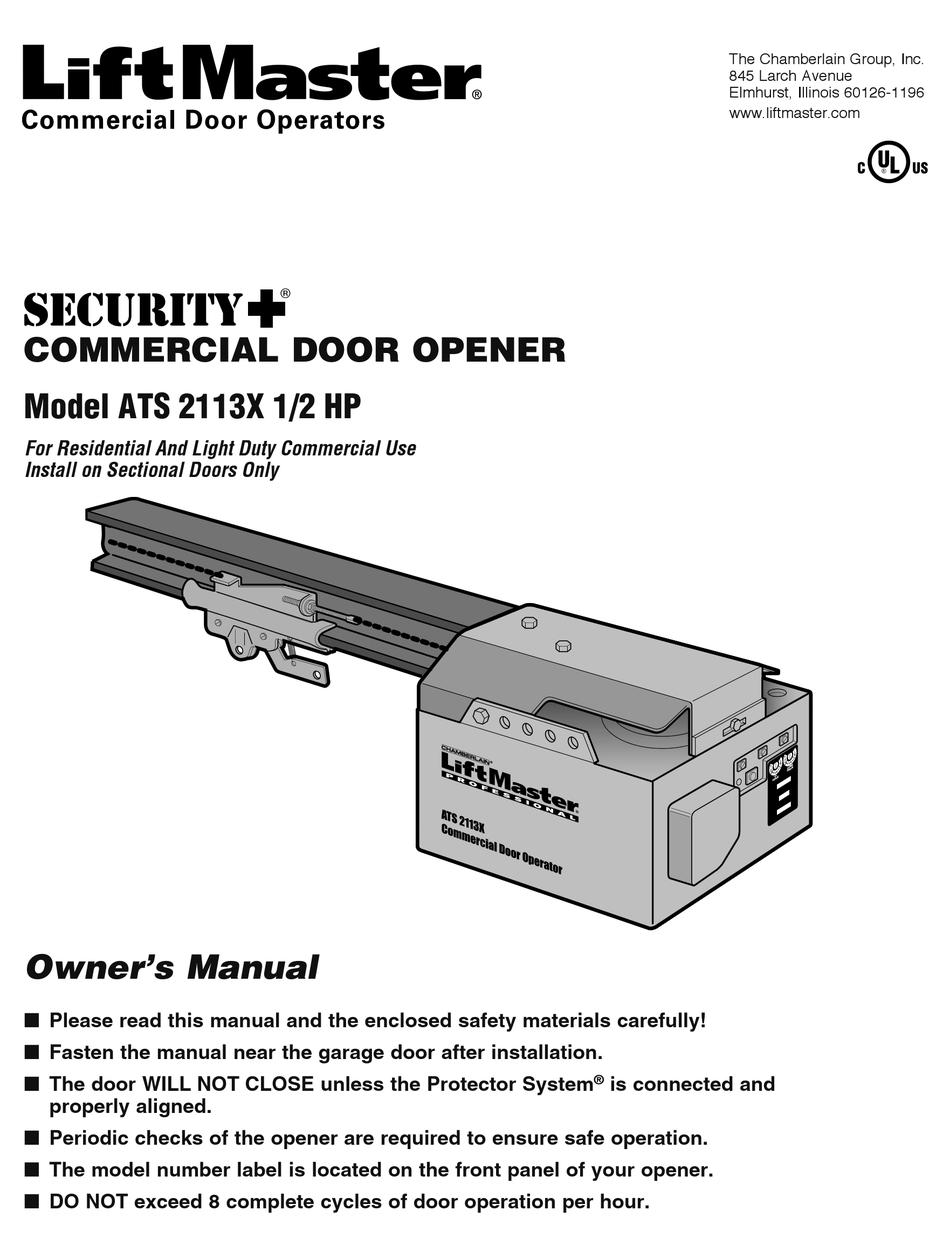 Chamberlain Liftmaster Ats 2113x Owner S Manual Pdf Download Manualslib