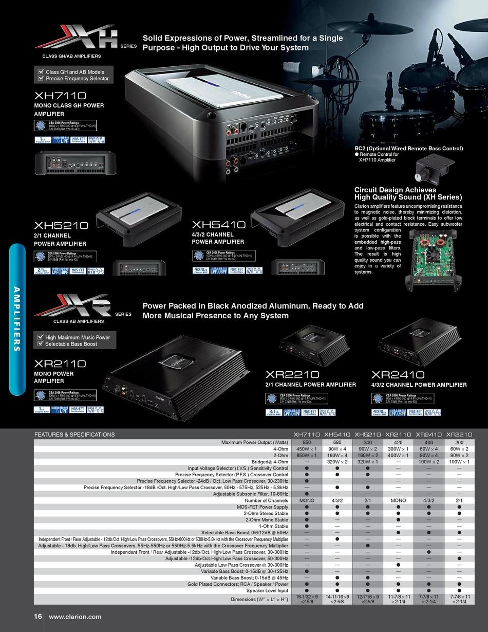 Clarion Xh5210 Brochure Specs Pdf Download Manualslib