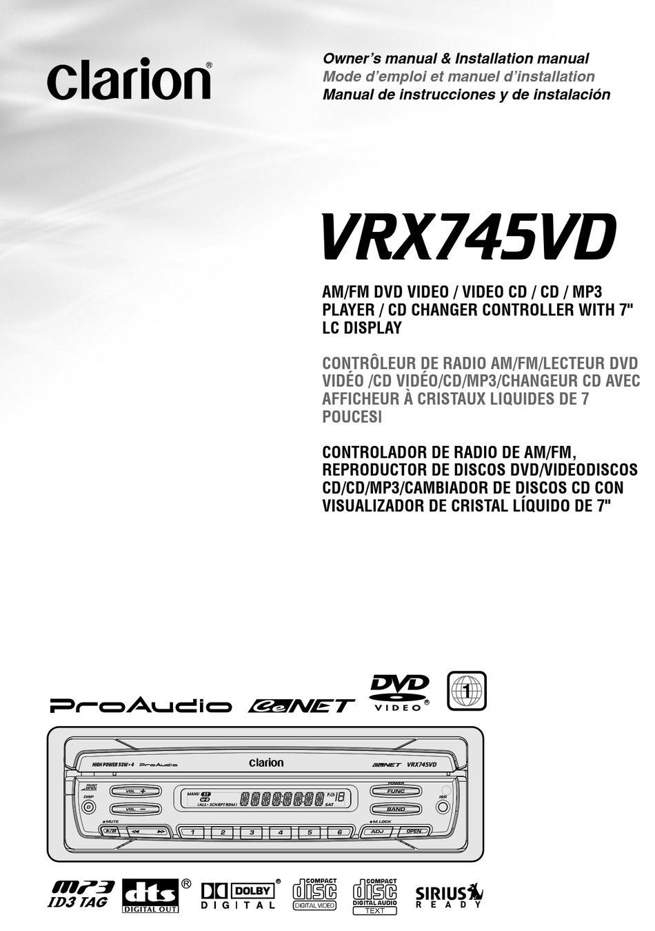Clarion Vrx745vd Owner S Manual