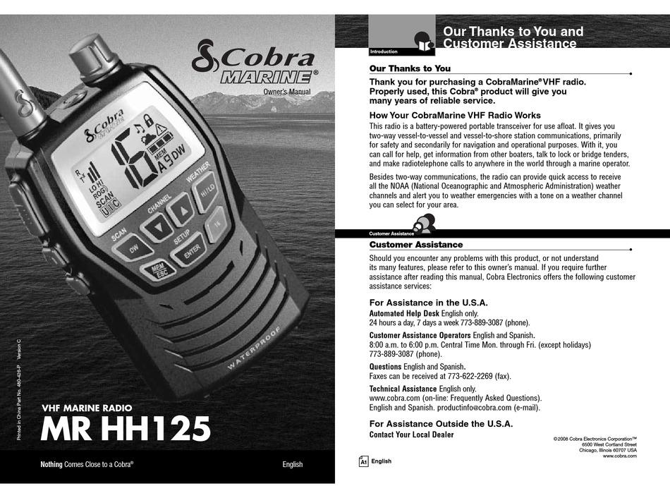 Cobra Marine Mr Hh125 Owner S Manual Pdf Download Manualslib