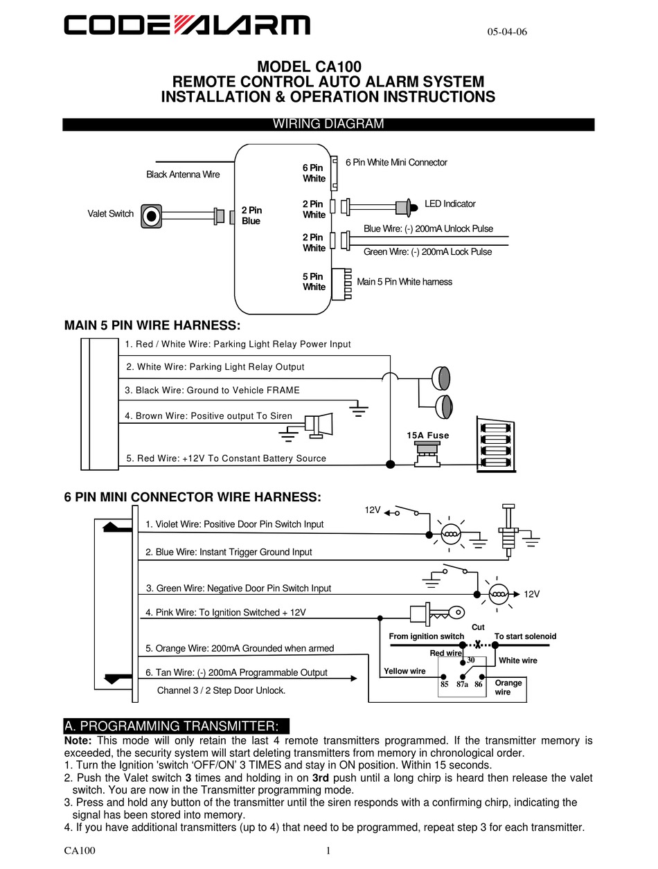 CODE ALARM CA100 INSTALLATION & OPERATION MANUAL Pdf Download | ManualsLibManualsLib