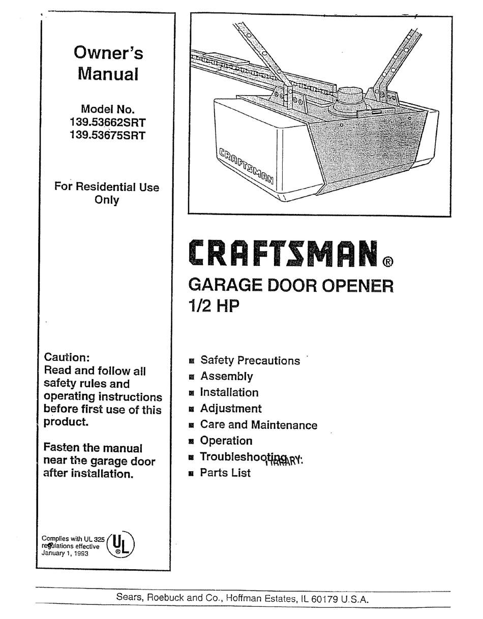 Craftsman 139 53675srt Owner S Manual Pdf Download Manualslib