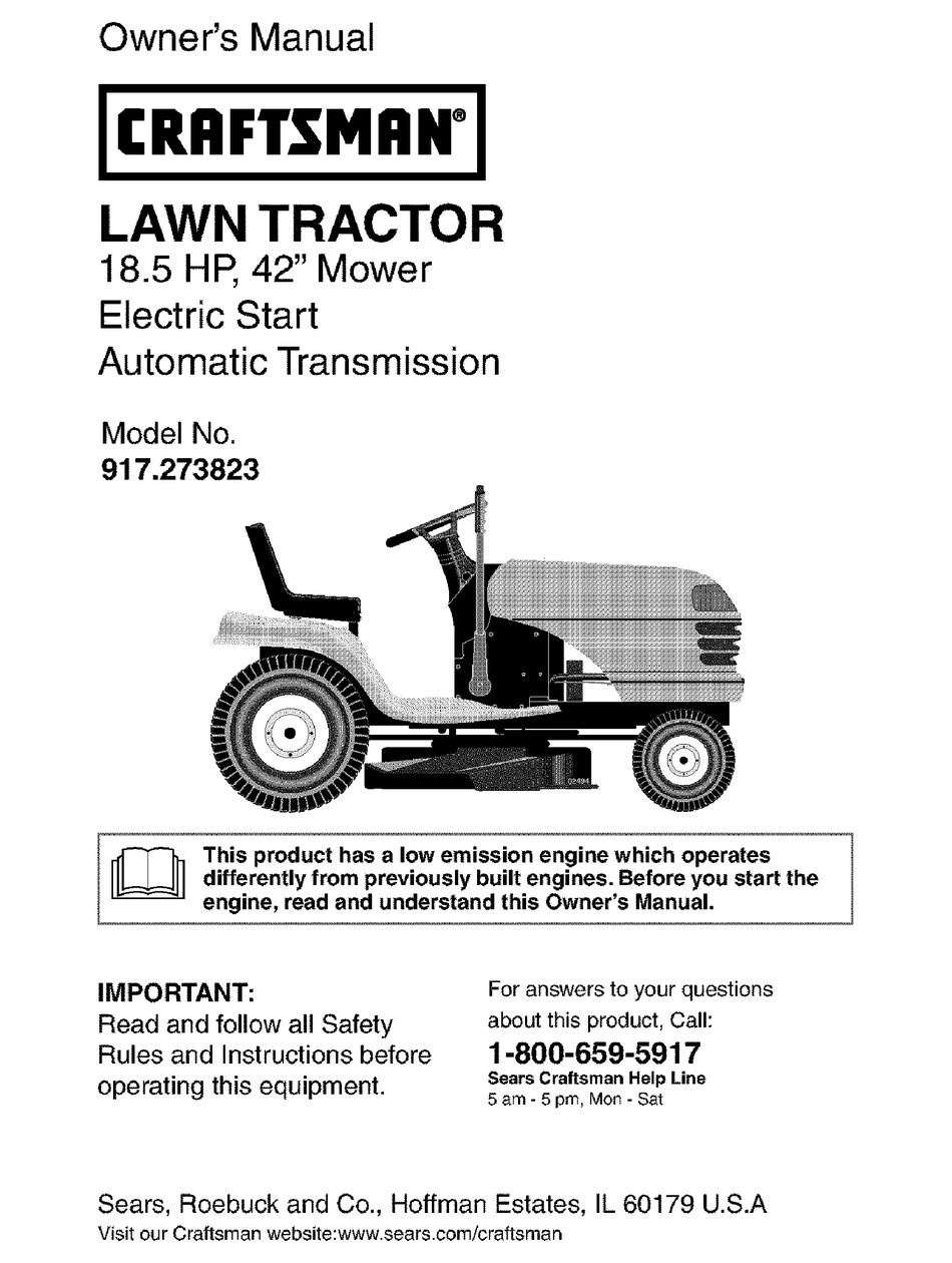 Craftsman 18 5 Hp 917 273823 Owner S, Craftsman 18hp Lawn Tractor Wiring Diagram
