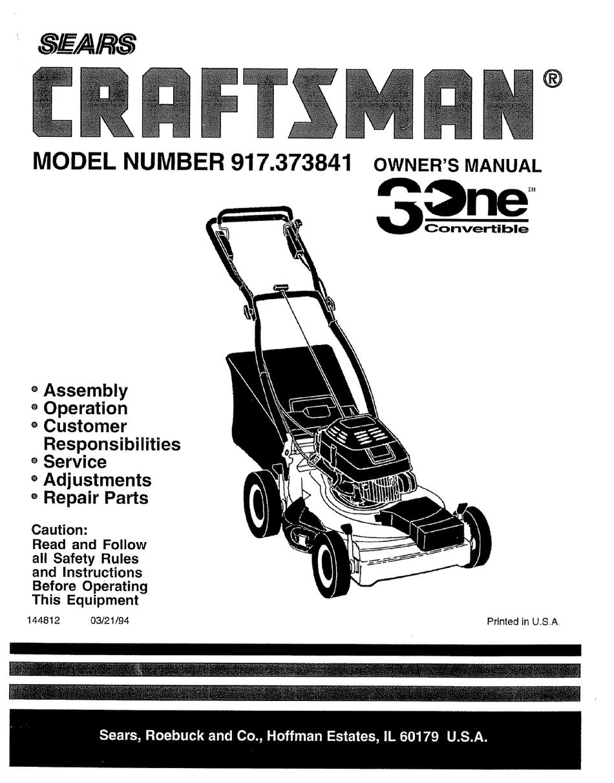 Craftsman 917 373841 Owner S Manual Pdf Download Manualslib