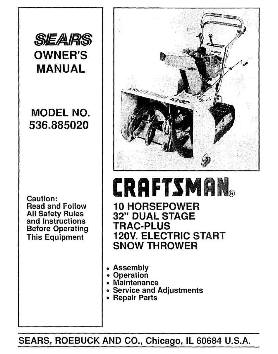 Craftsman Sears 536 88502 Owner S Manual Pdf Download Manualslib