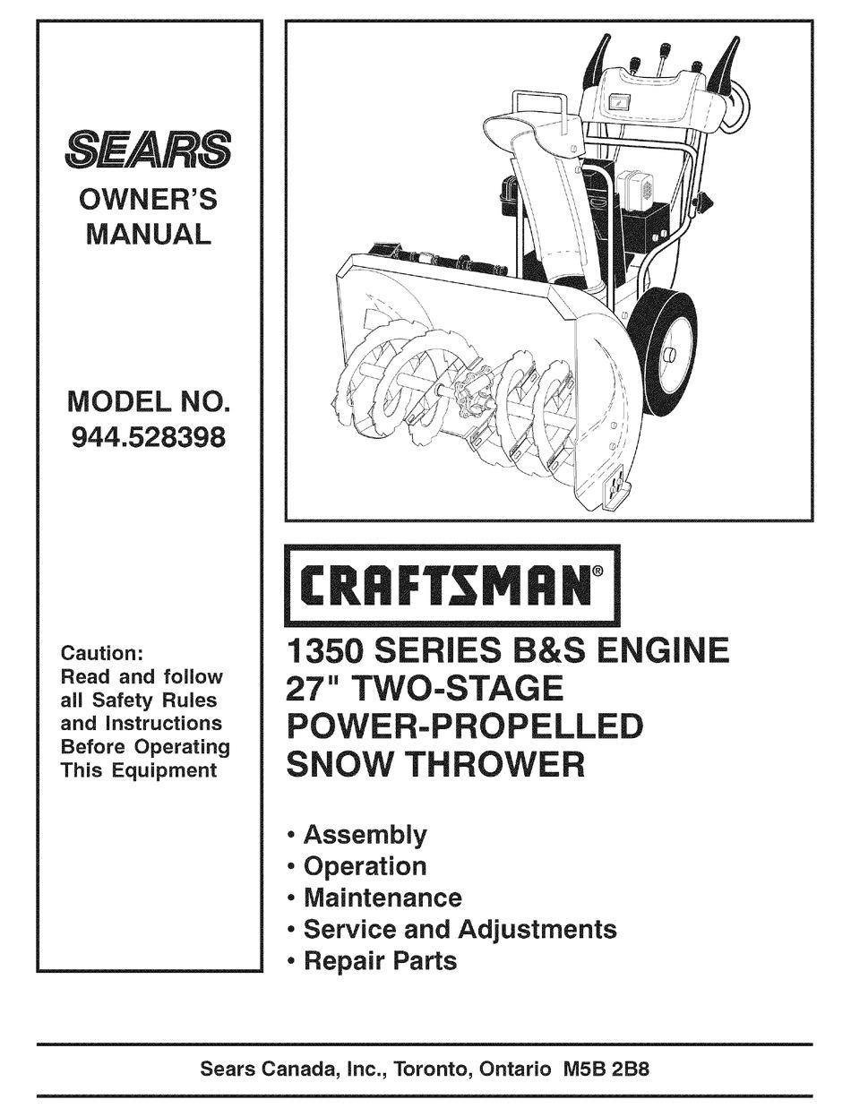 Craftsman Sears 944 528398 Owner S Manual Pdf Download Manualslib