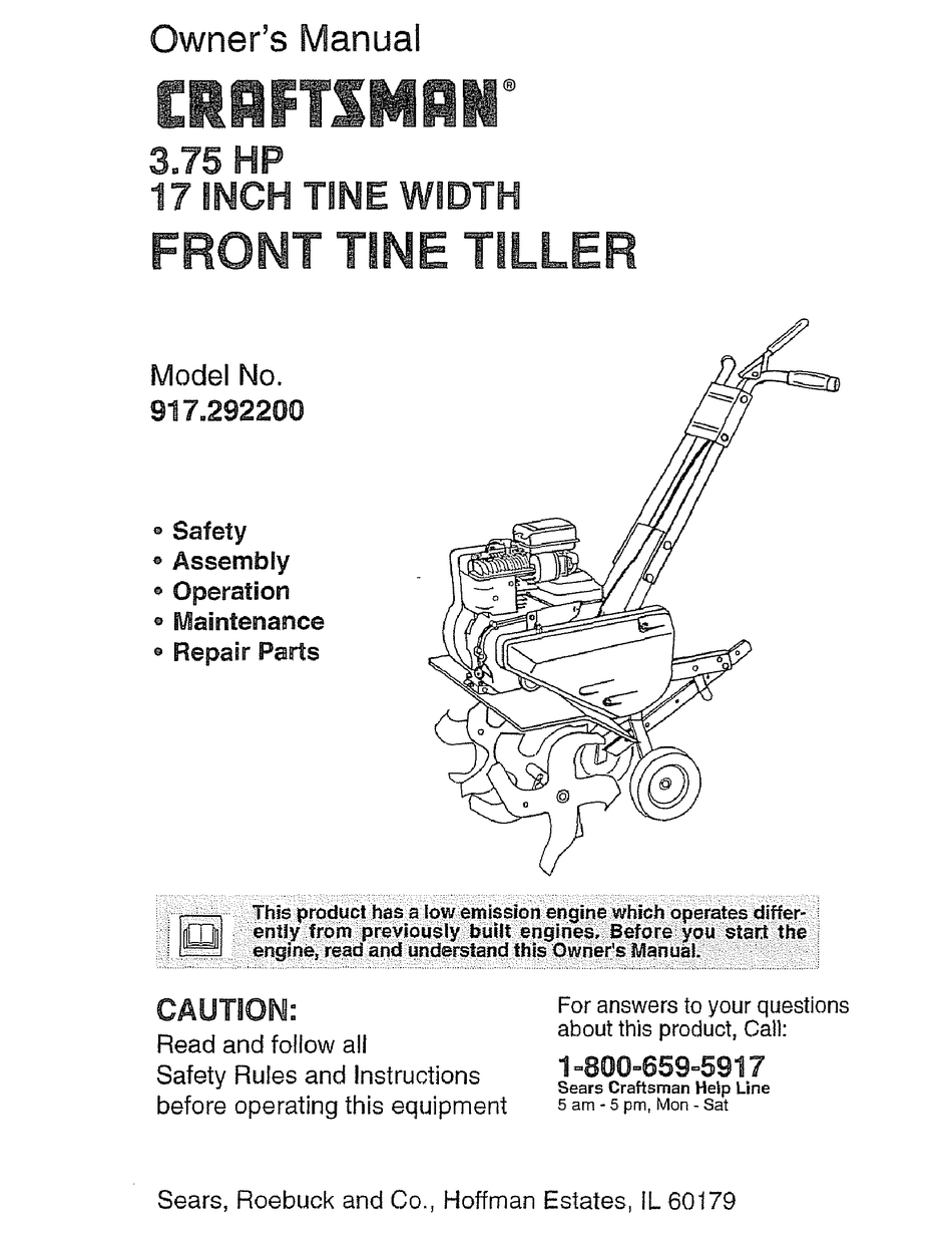 Craftsman 3 75 Hp 17 Inch Tine Width 917 2922 Owner S Manual Pdf Download Manualslib