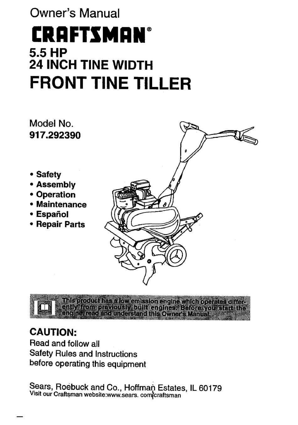 Craftsman Front Tine Tiller 917 29239 Owner S Manual Pdf Download Manualslib