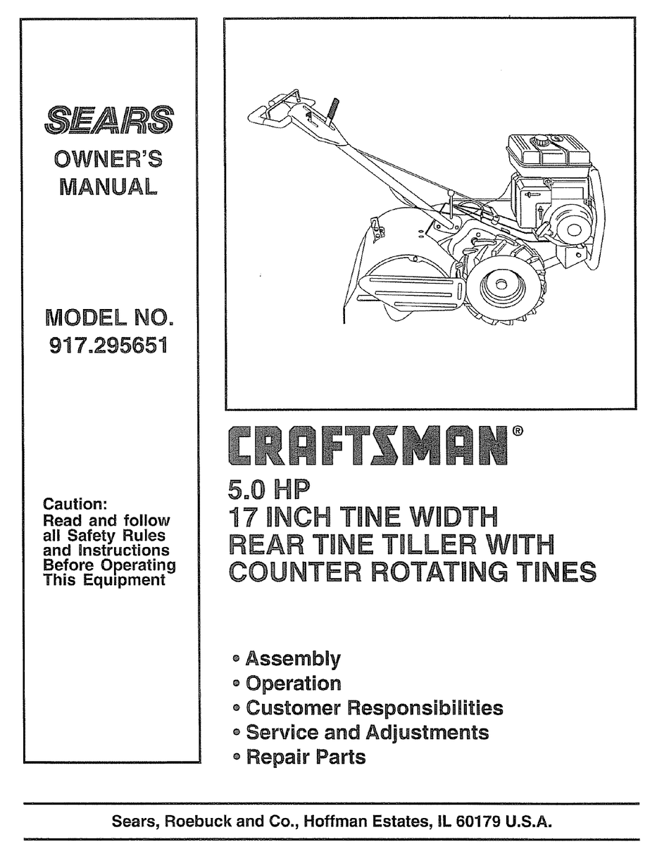 Craftsman Sears 917 295651 Owner S Manual Pdf Download Manualslib