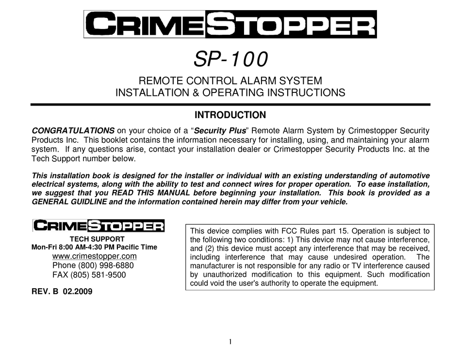 crimestopper sp100 installation and operating instructions