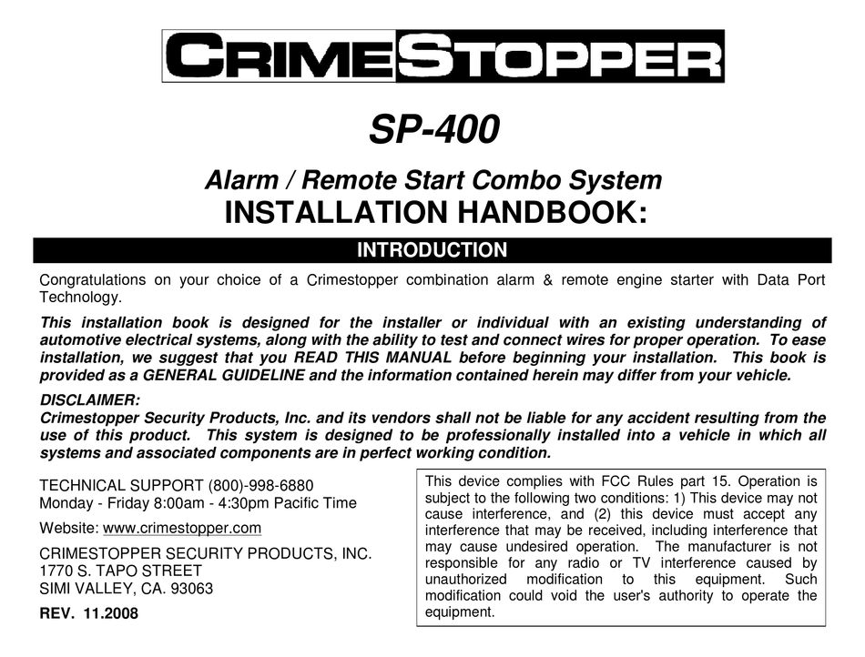 Crimestopper Sp 101 Wiring Diagram from data2.manualslib.com