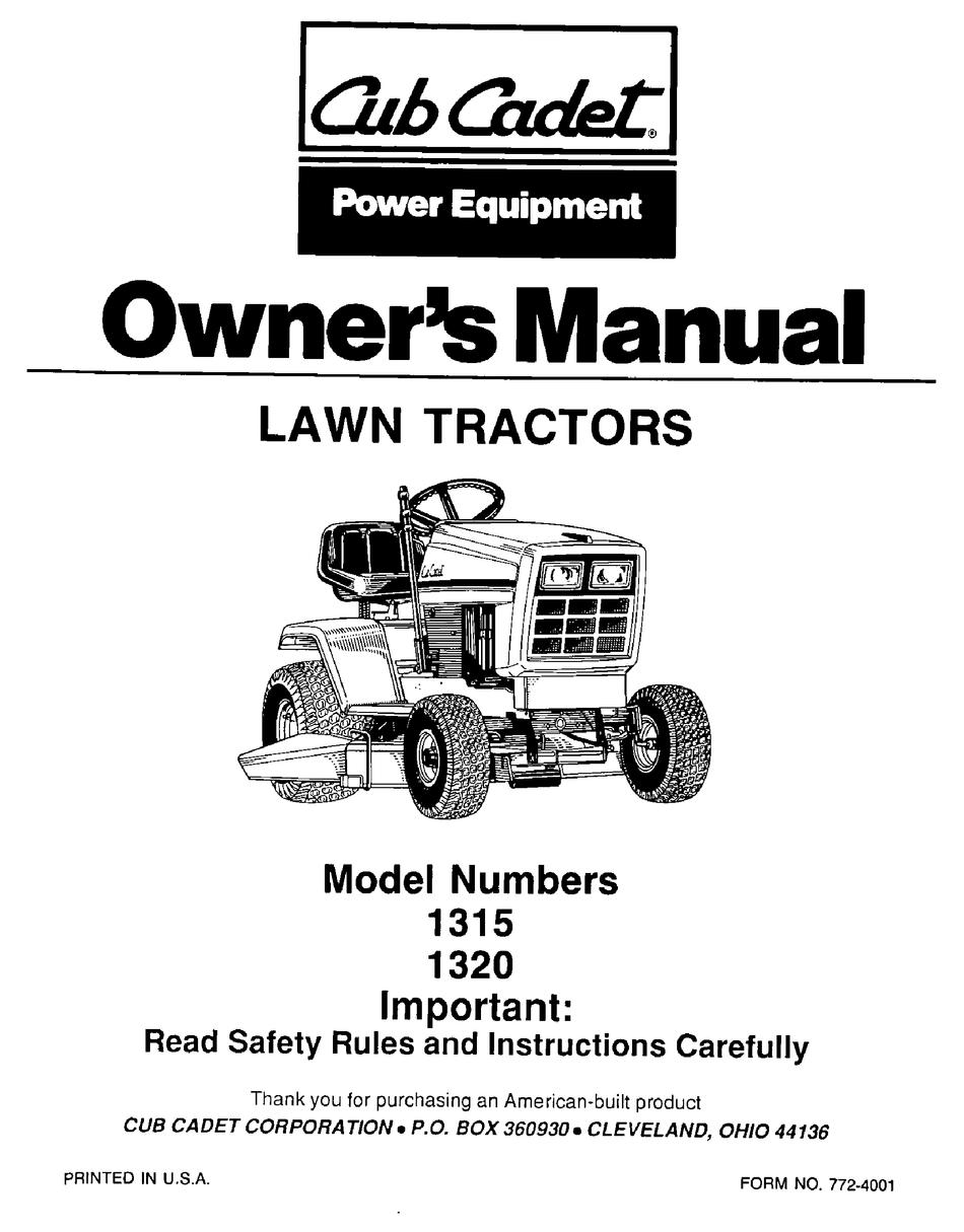 CUB CADET 1315 OWNER'S MANUAL Pdf Download | ManualsLibManualsLib
