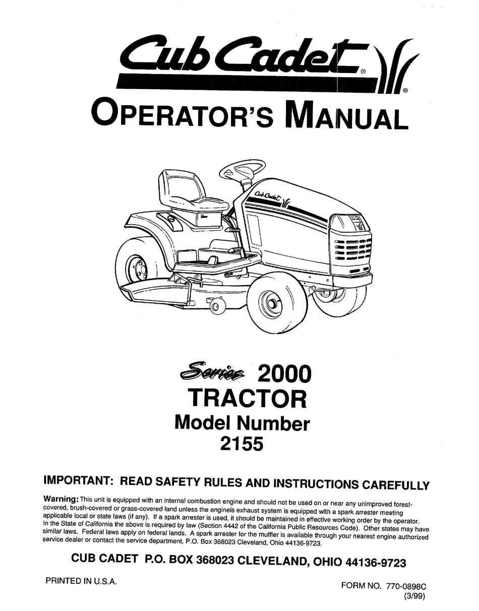 CUB CADET 2155 OPERATOR'S MANUAL Pdf Download | ManualsLibManualsLib
