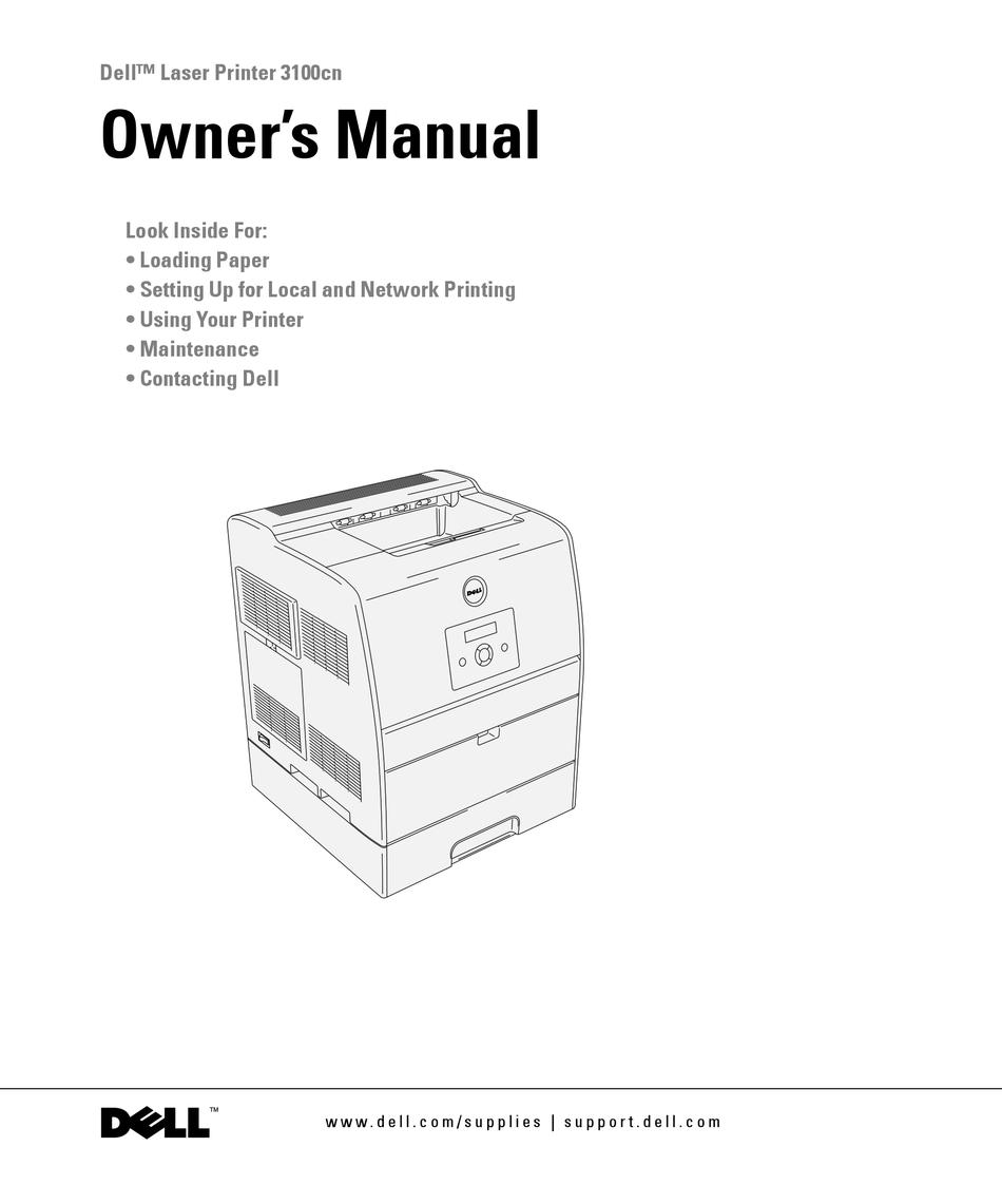 Dell 3100cn Owner S Manual Pdf Download Manualslib