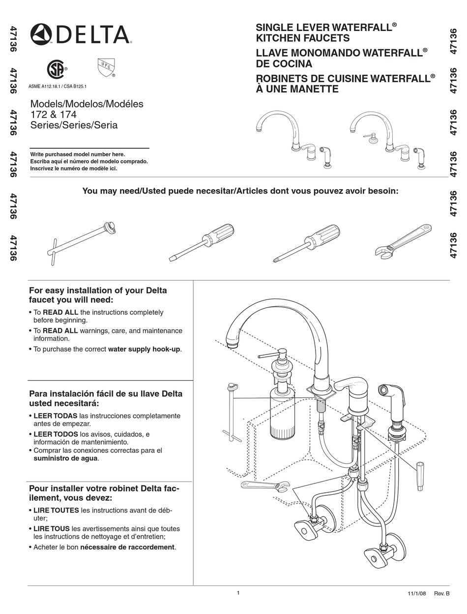 Delta 172 Series Installation Manual Pdf Download Manualslib