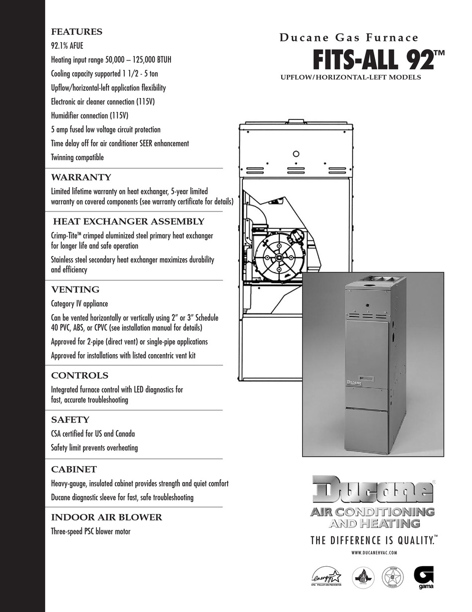 Ducane Fits All 92 Specifications Pdf Download Manualslib
