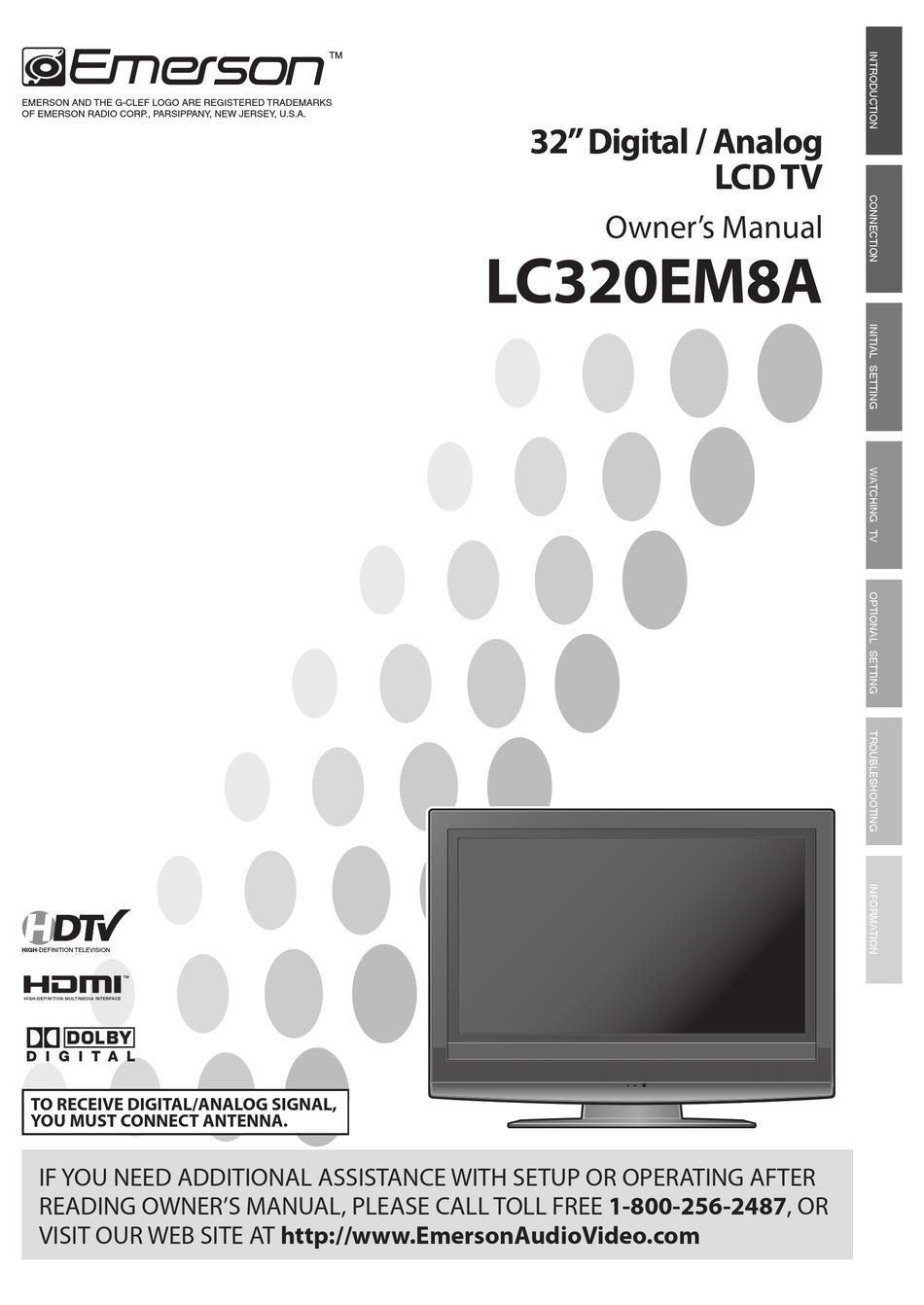 Emerson Lc320em8a Owner S Manual Pdf Download Manualslib