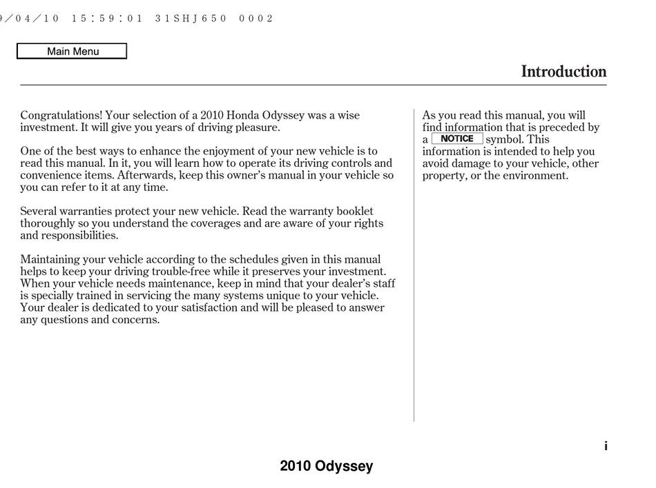 Honda Odyssey Owner S Manual Pdf Download Manualslib