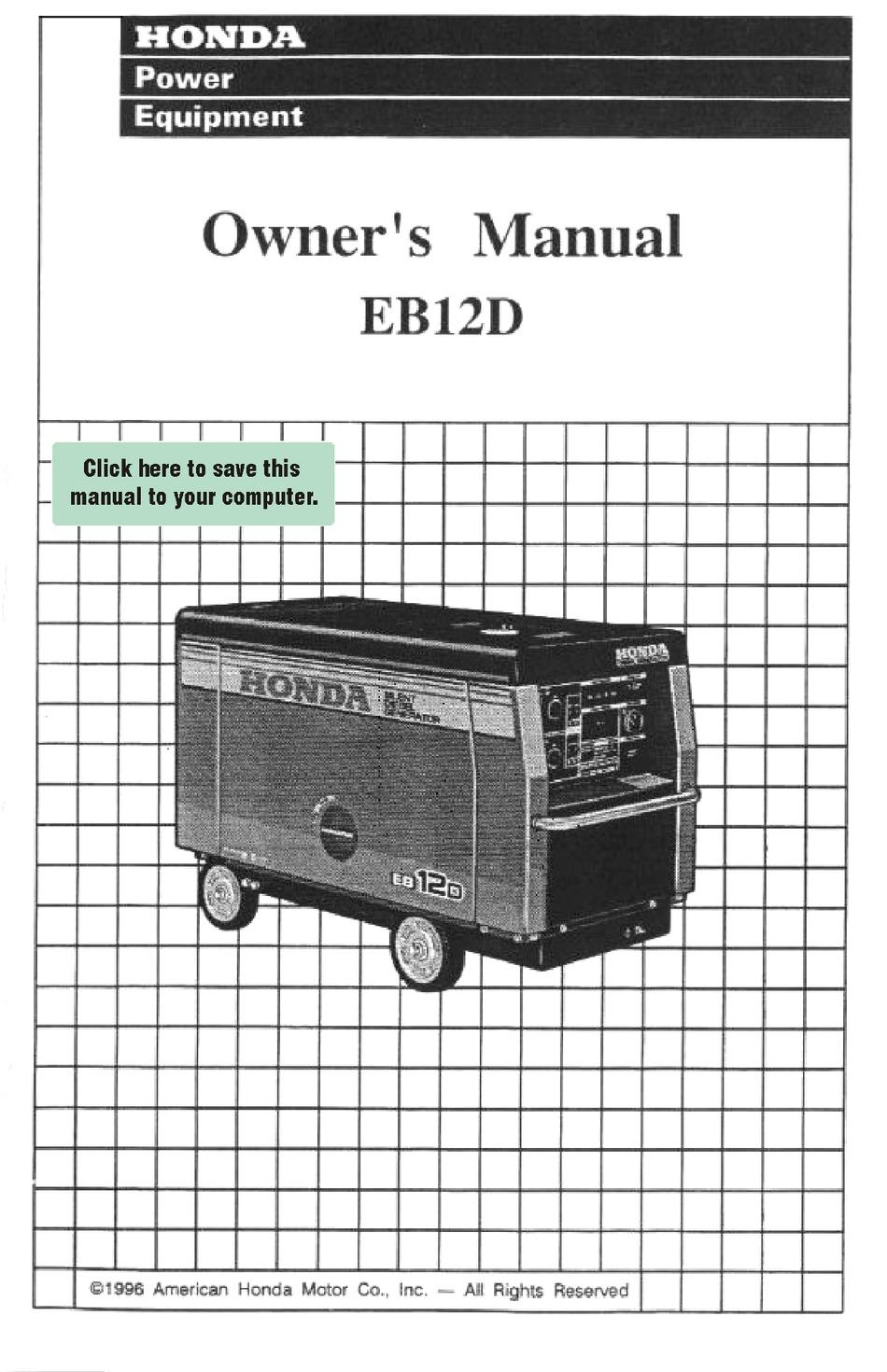 Honda Eb12d Owner S Manual Pdf Download Manualslib