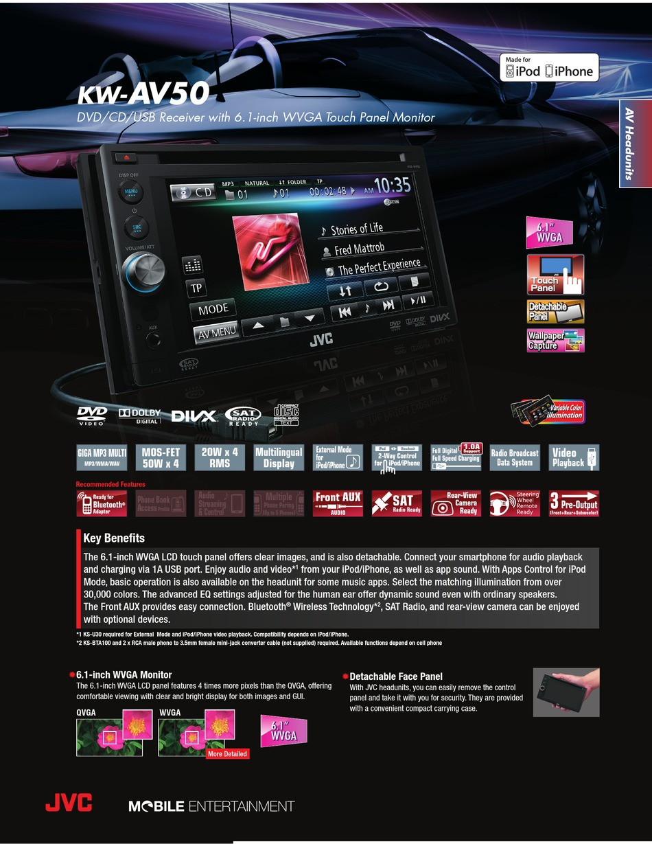 Jvc Kw Av50 Specification Sheet Pdf Download Manualslib