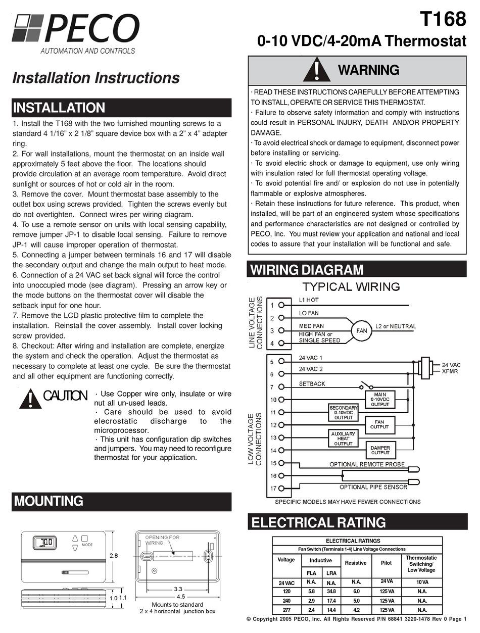 PECO T168 INSTALLATION INSTRUCTIONS Pdf Download | ManualsLibManualsLib