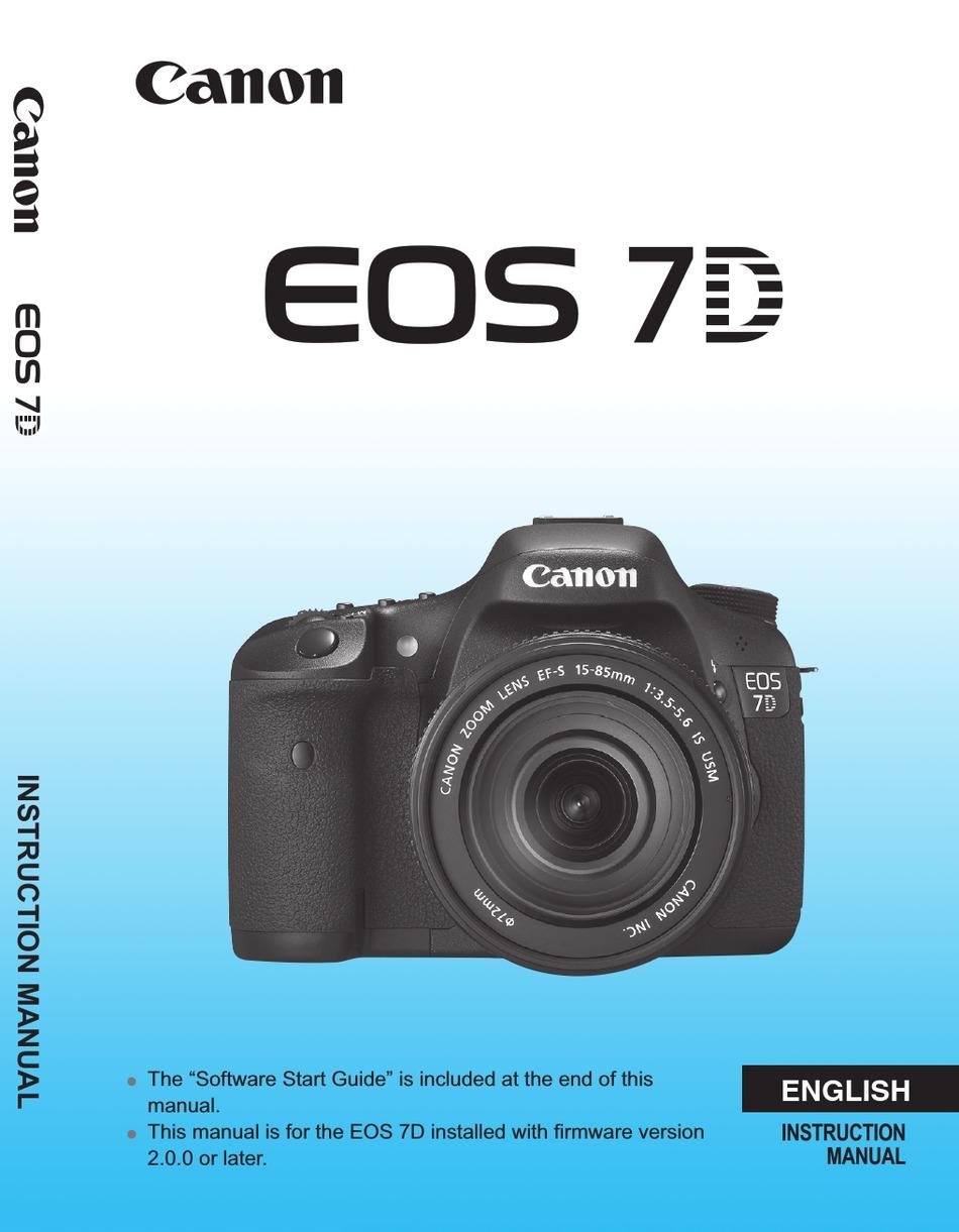 Canon Eos 7d Instruction Manual Pdf Download Manualslib