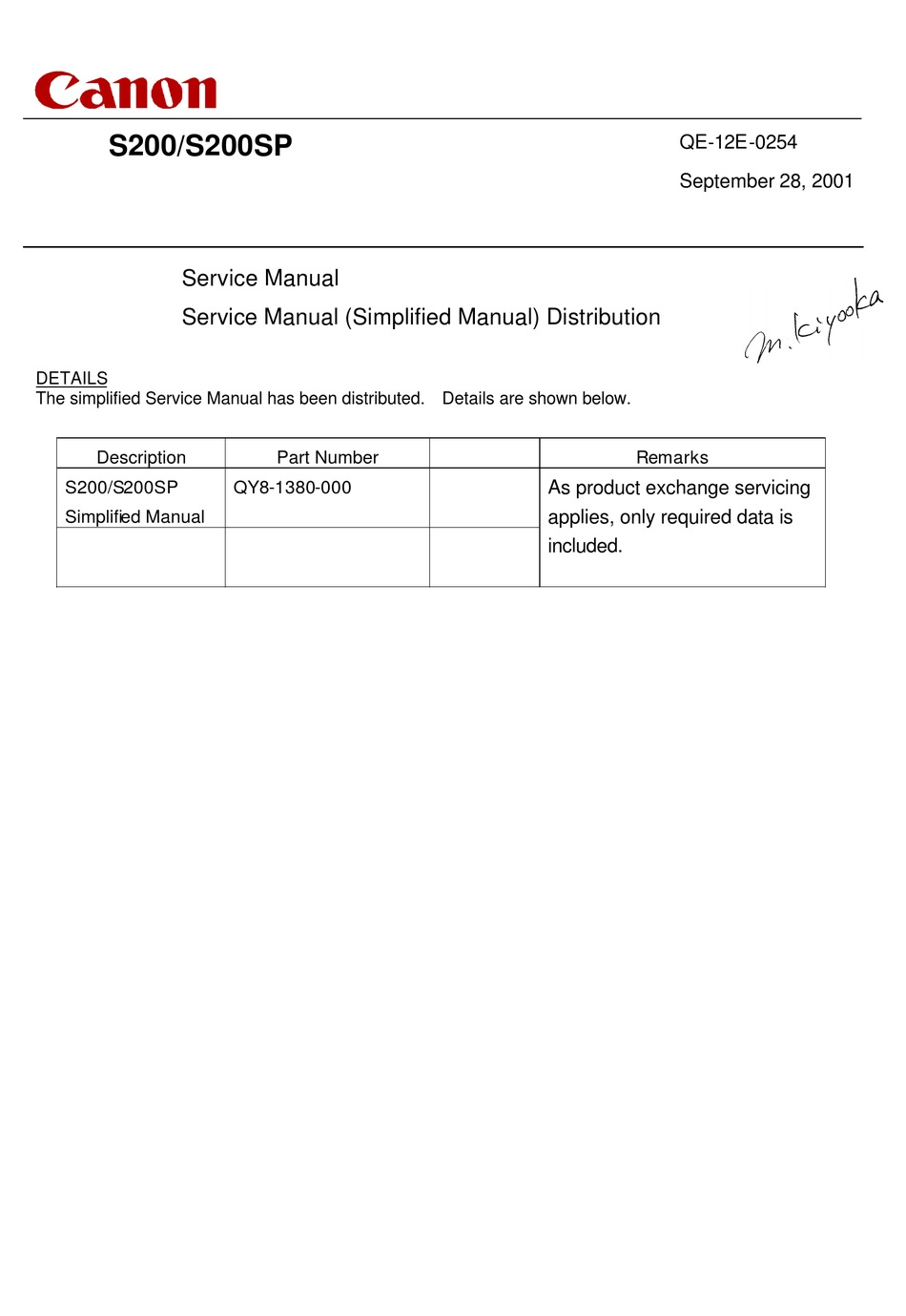 Canon S200 Simplified Service Manual Pdf Download
