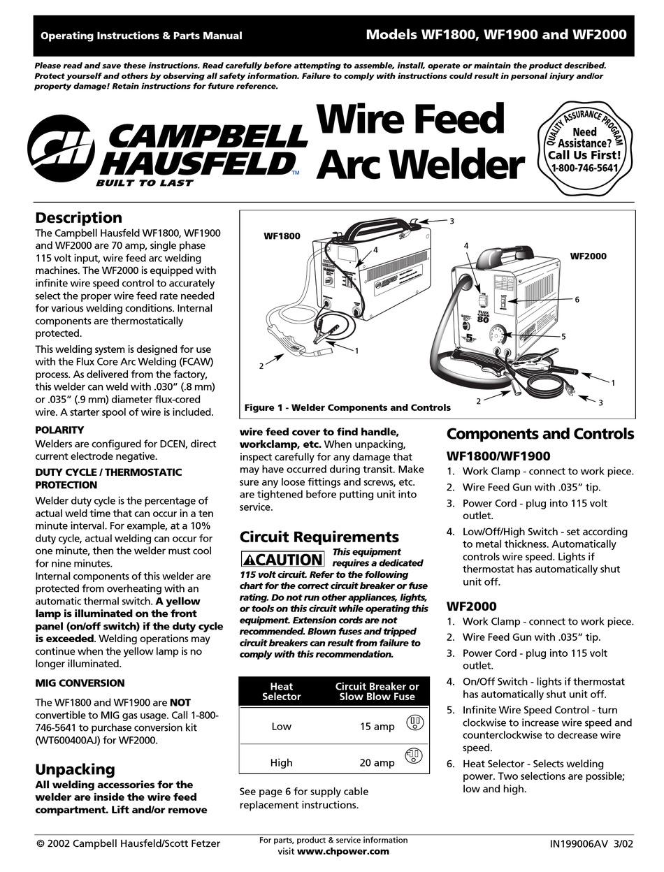 MIG Guns & Torches Mig Gun and Parts fit Campbell Hausfield WG3013 ...
