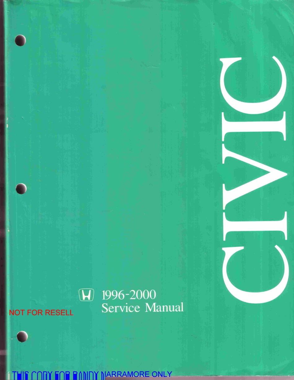Honda Civic Service Manual Pdf Download Manualslib