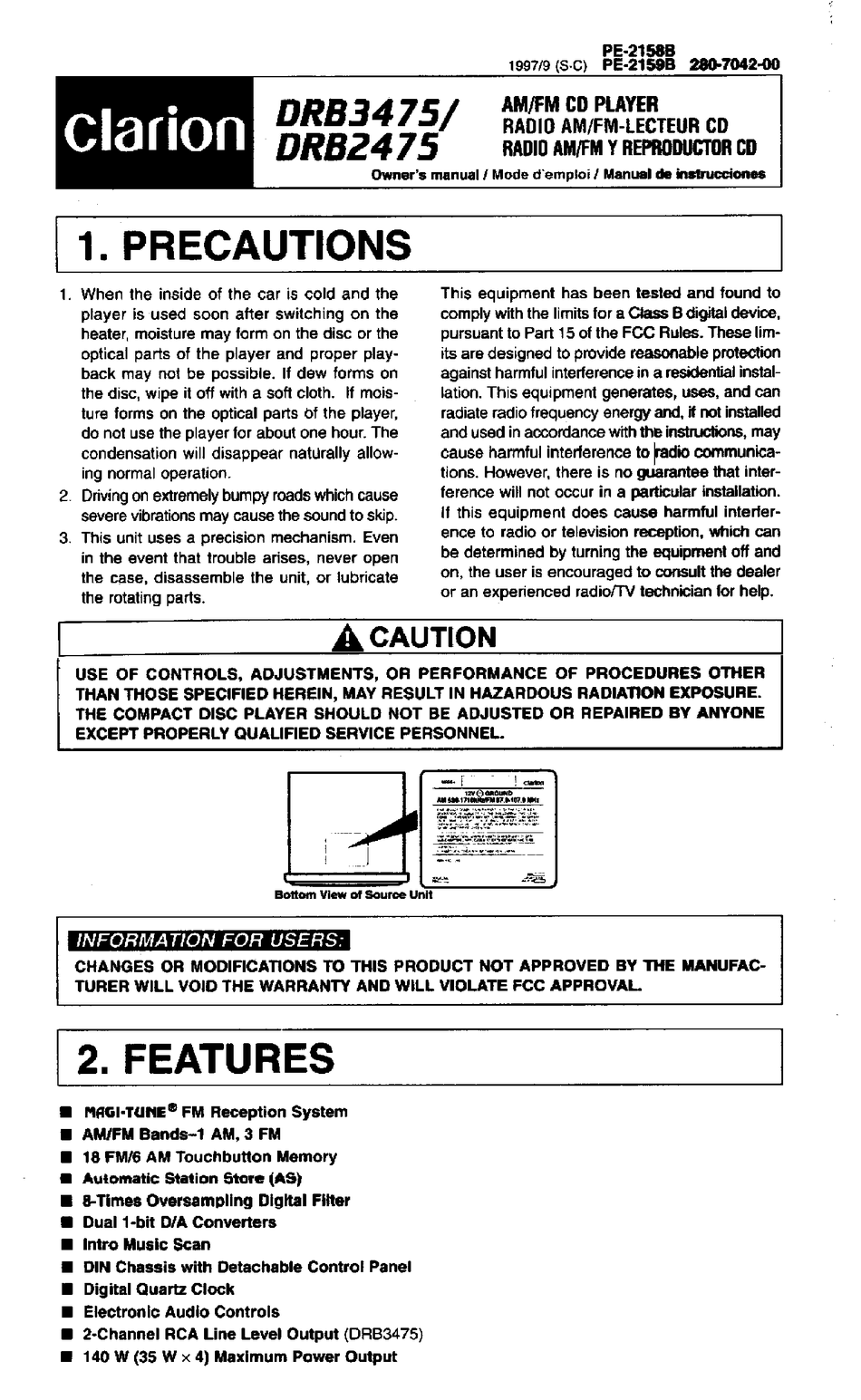 Clarion Drb2475 Owner S Manual Pdf