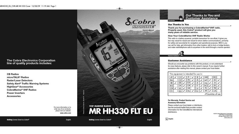 Cobra Marine Marine Mr Hh330 Flt Eu Owner S Manual Pdf Download Manualslib