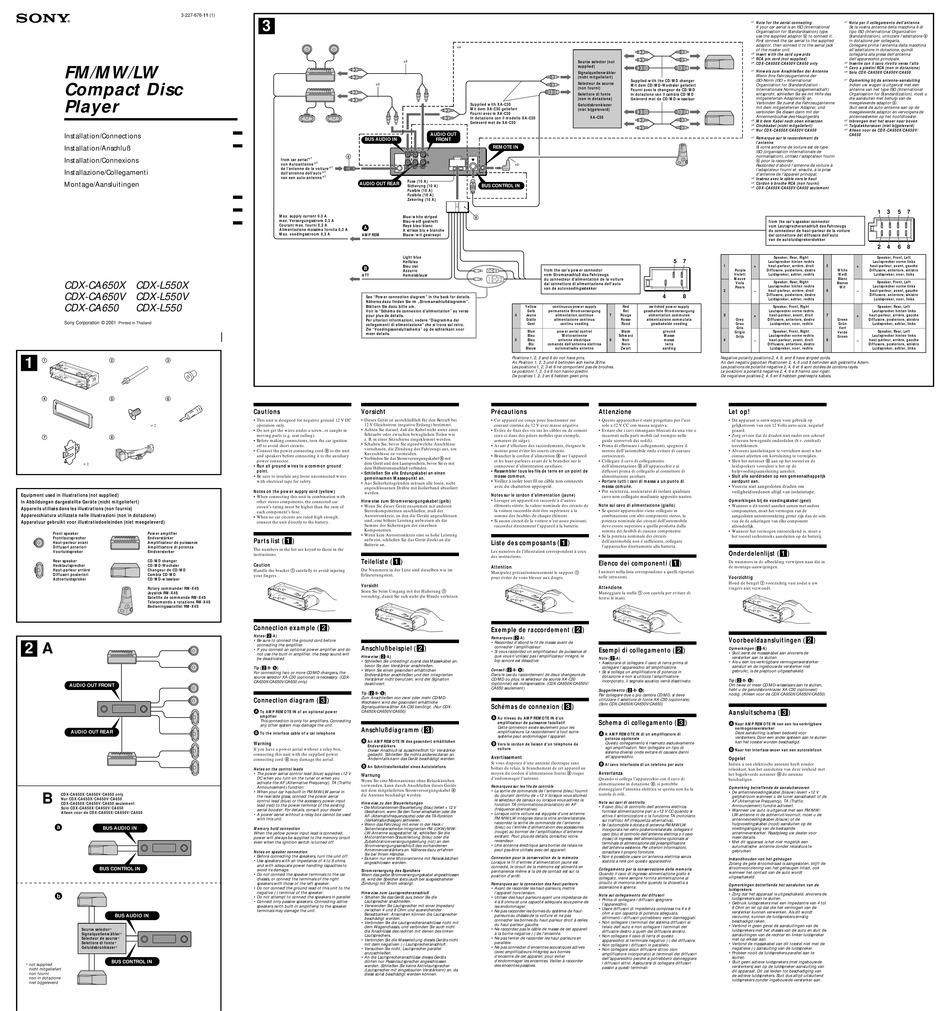 sony cdxca650x installation pdf download  manualslib