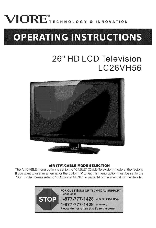 VIORE LC26VF56 Viore LC26VH56 Viore LC32IF90// LC32IH56 AC90 AC Power Cord