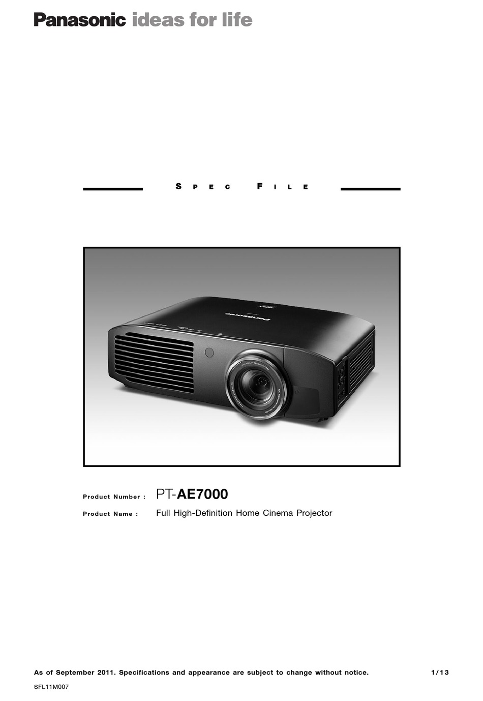 Panasonic Pt Ae7000u Specification Pdf Download Manualslib