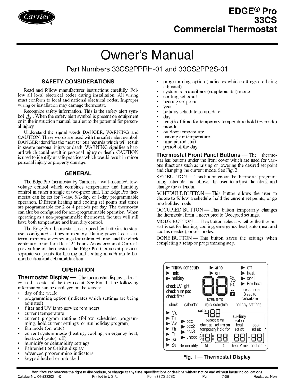 Carrier Edge Pro 33cs Owner S Manual Pdf Download Manualslib
