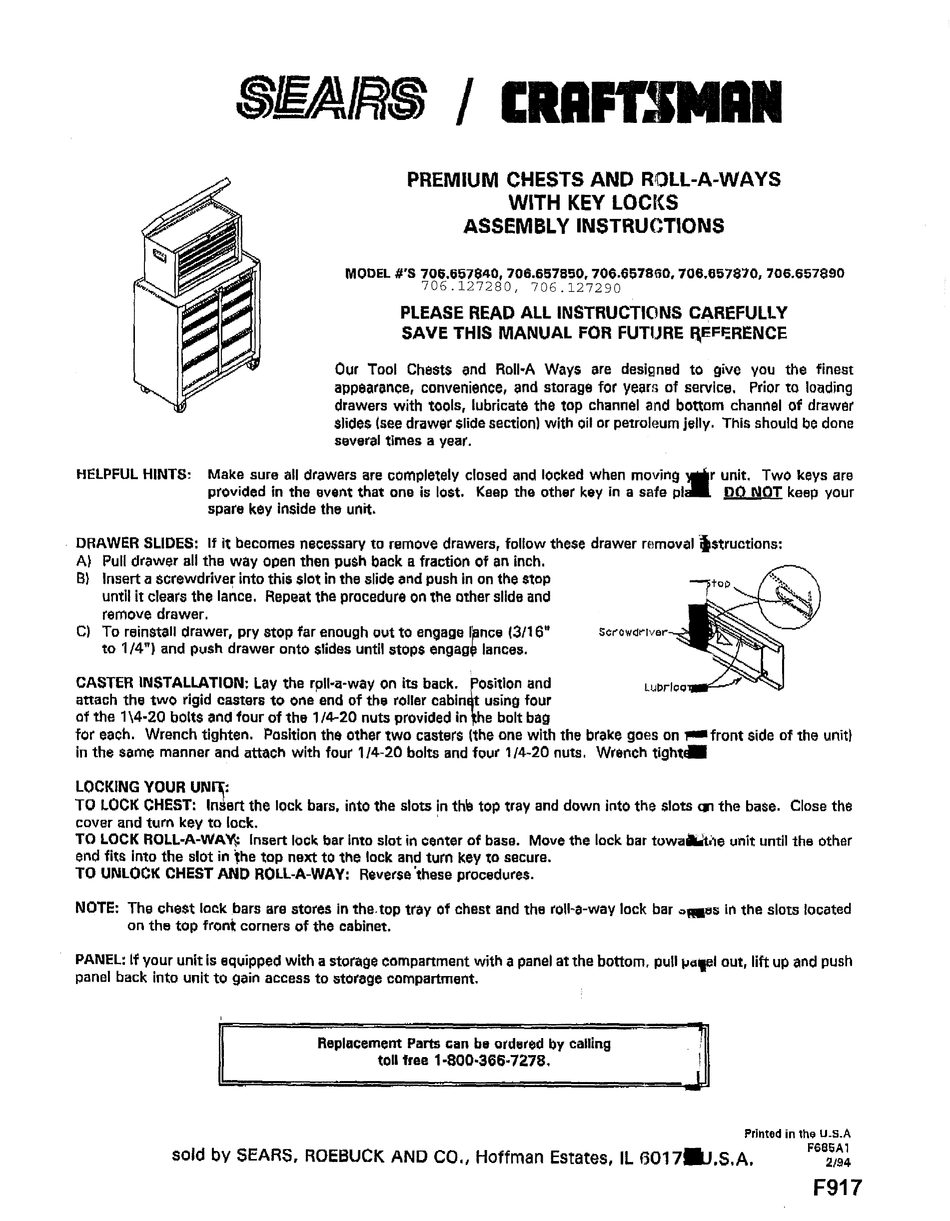 Assembly Instructions, Craftsman Floor Cabinet Assembly Instructions