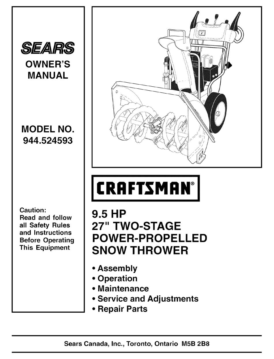 Craftsman 944 524593 Owner S Manual Pdf Download Manualslib
