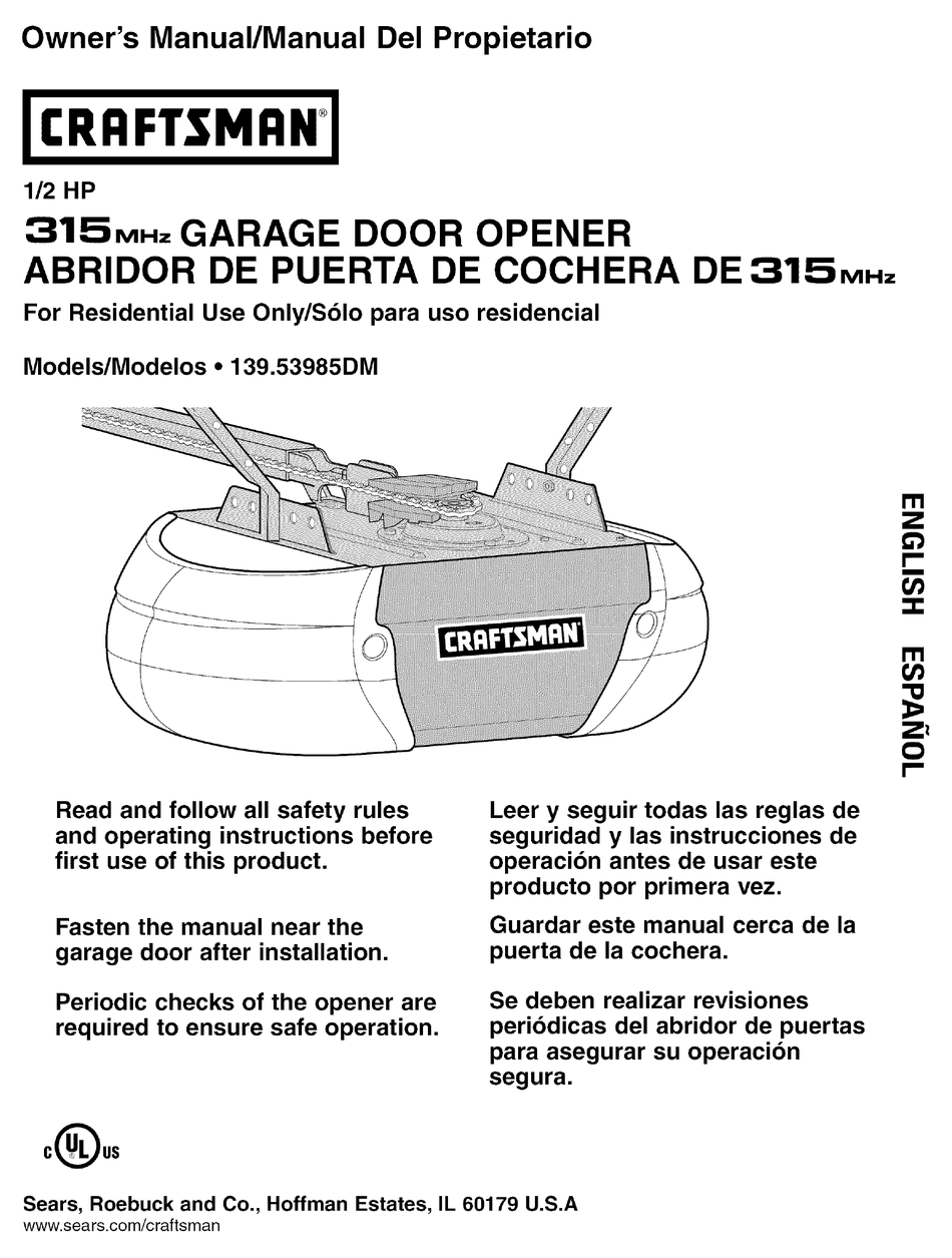 Craftsman Garage Door Opener Owner S Manual Pdf Download Manualslib